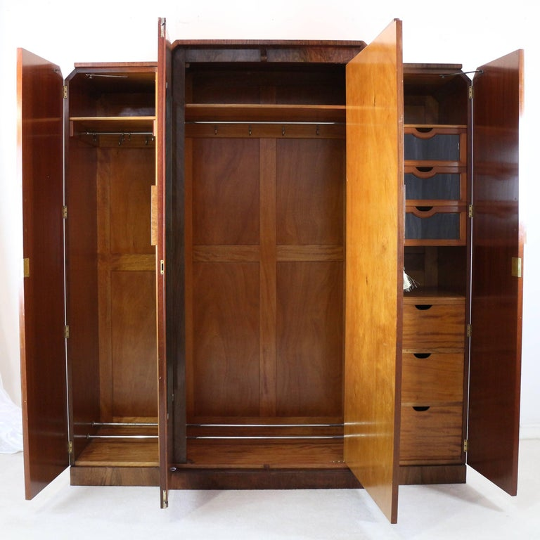 English Art Deco Burr Walnut Bedroom Suite Attributed To H