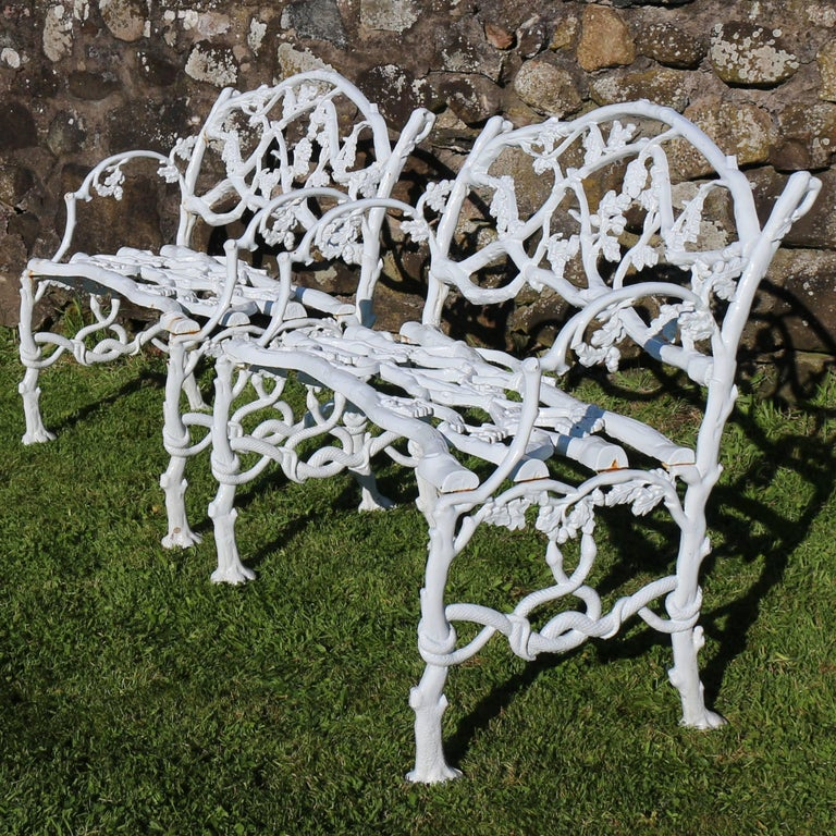 Rustic Pair Of Victorian Cast Iron Serpent And Twig Garden Seats Or Benches Circa 1860