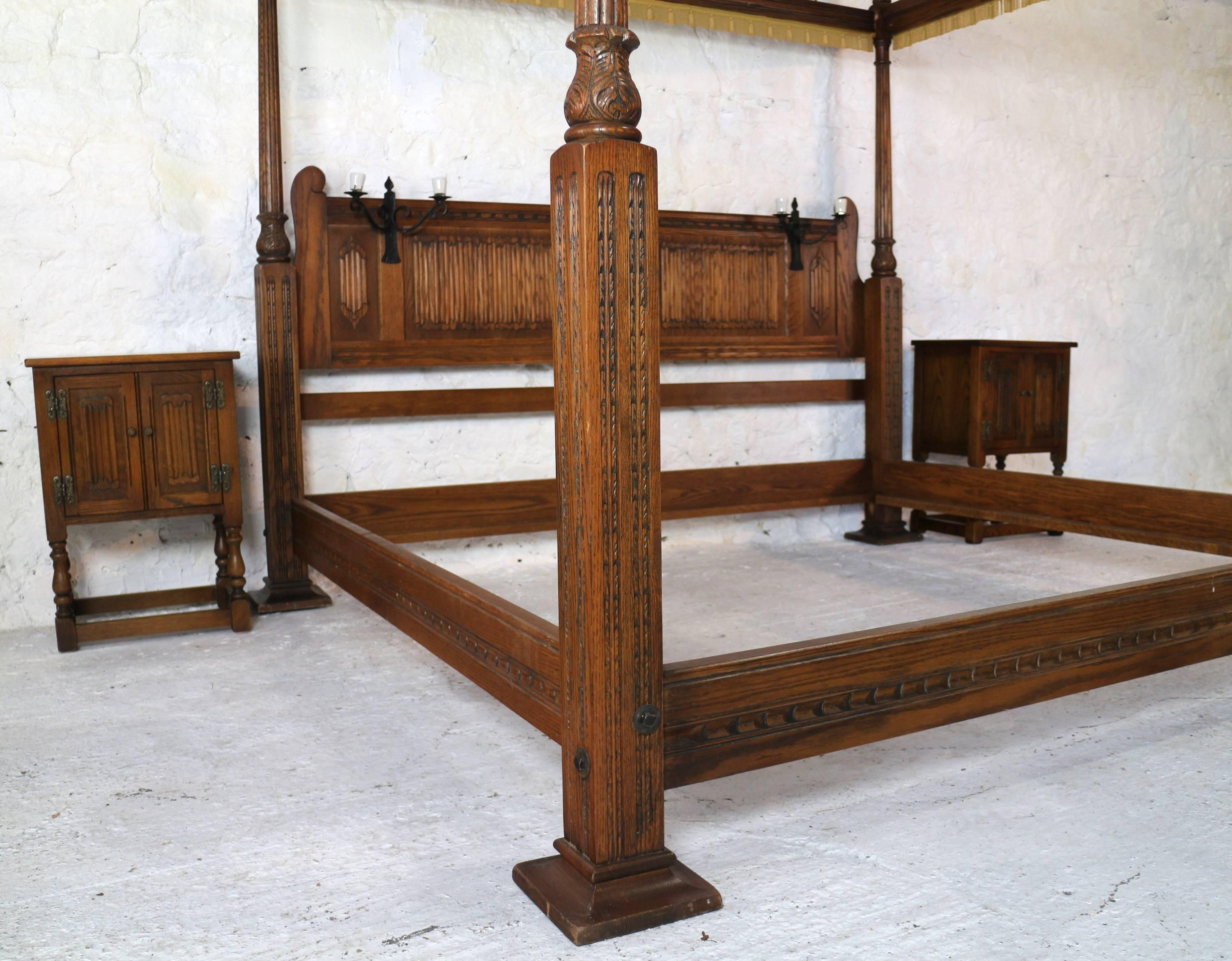 English Gothic Tudor Style Oak Four Poster Emperor Size Bed For Sale At 1stdibs
