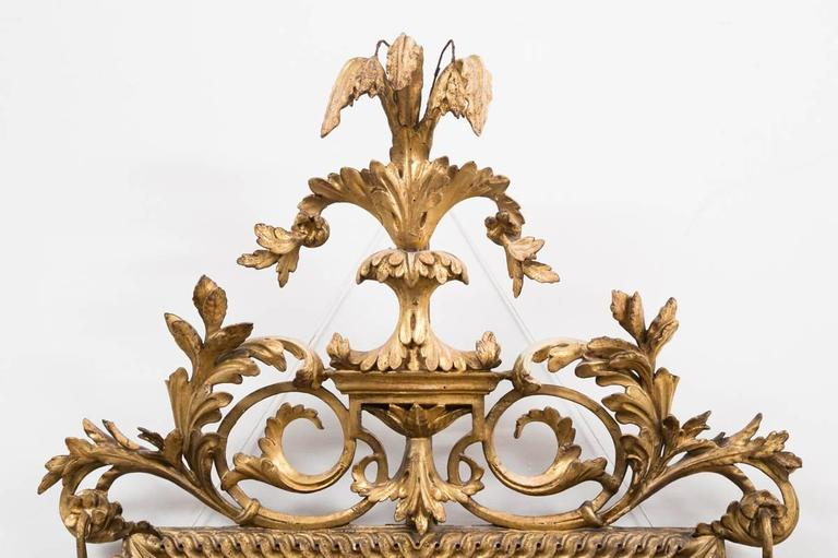 Carved Italian Neoclassical Giltwood Pier Mirror For Sale
