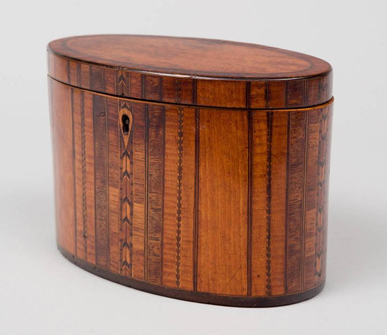George III oval tea caddy inlaid with specimen woods, the hinged top is mahogany crossbanded with rosewood, the body is decorated with vertical panels of satinwood, rosewood, pear wood and lines of inlay in arrow and checkerboard patterns with ebony