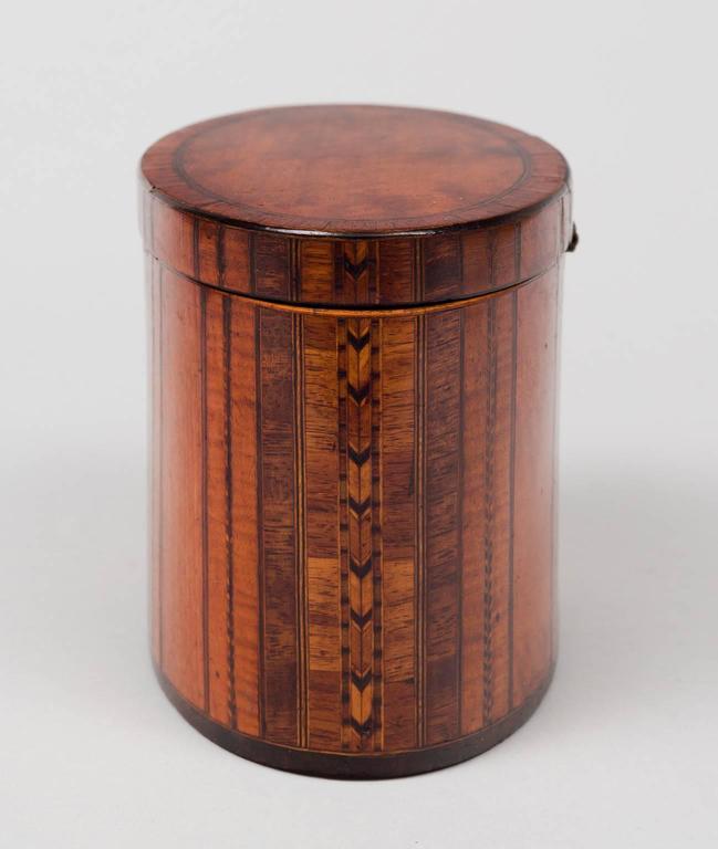 Fine Georgian Oval Inlaid Tea Caddy, circa 1800 4