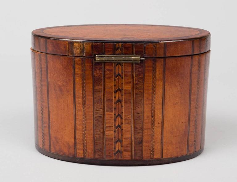 19th Century Fine Georgian Oval Inlaid Tea Caddy, circa 1800 For Sale