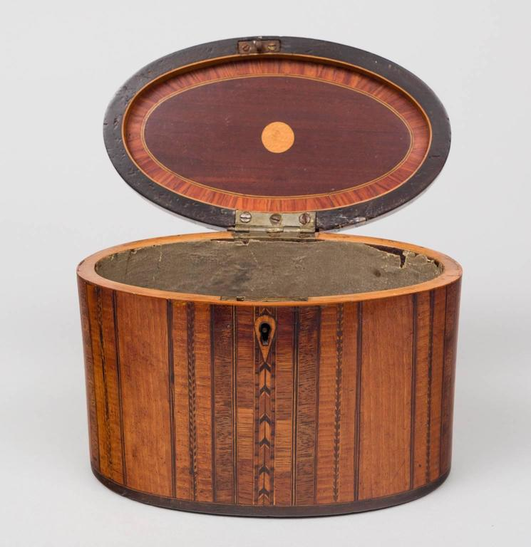 English Fine Georgian Oval Inlaid Tea Caddy, circa 1800 For Sale