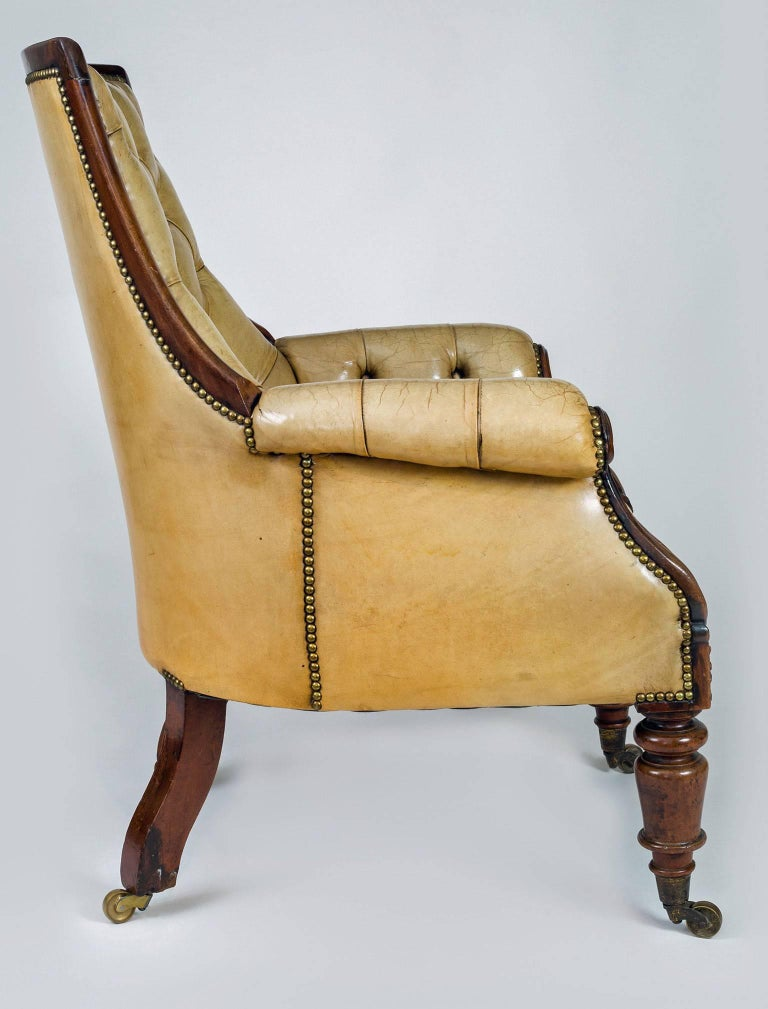 Late Regency Mahogany and Leather Library Armchair 3