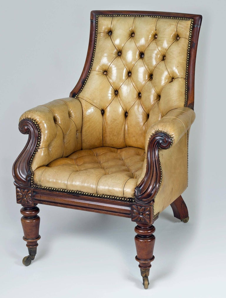 Late Regency Mahogany and Leather Library Armchair 2