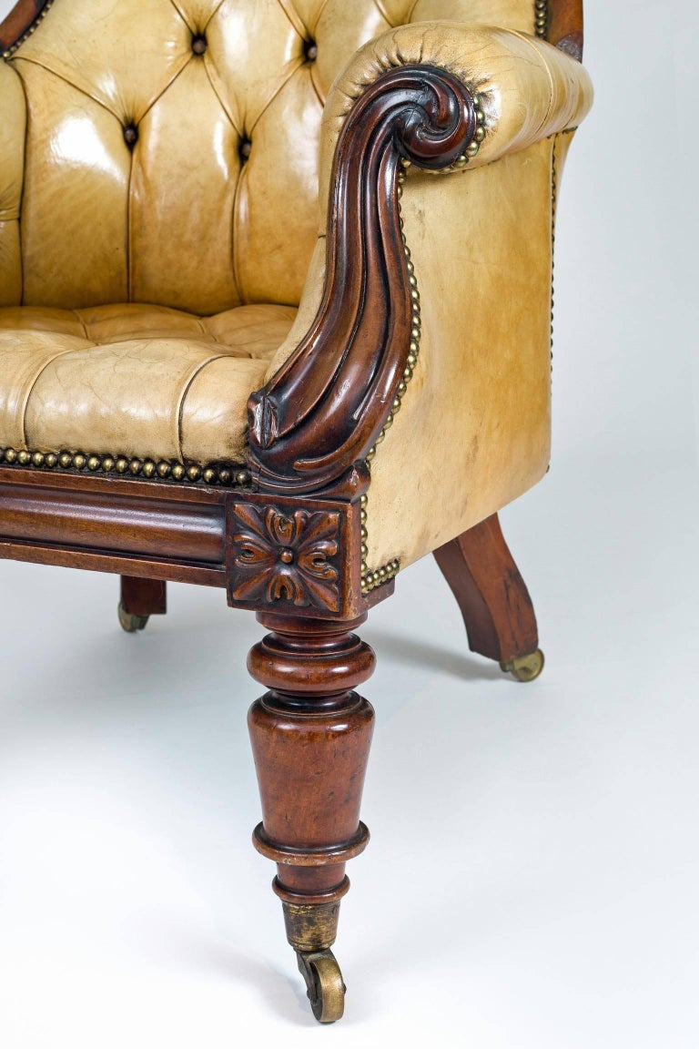 Late Regency Mahogany and Leather Library Armchair 5