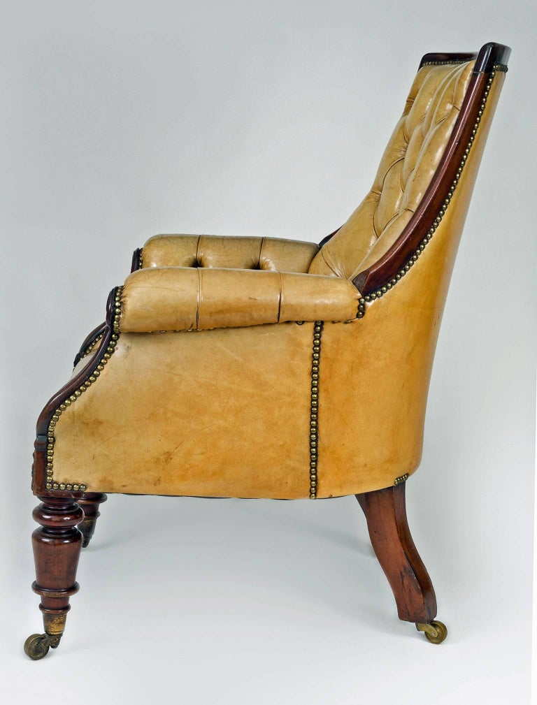 Late Regency Mahogany and Leather Library Armchair 4