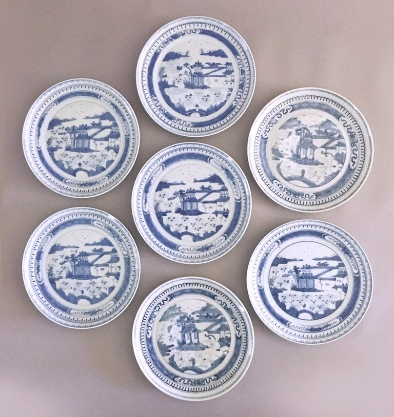 Set of seven Chinese export canton blue and white porcelain 8.75