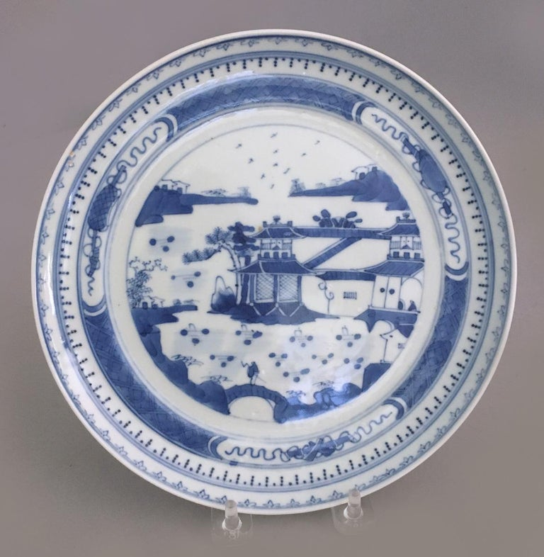 Chinese Export Set of Seven Antique Chinese Canton Porcelain Blue and White Plates For Sale