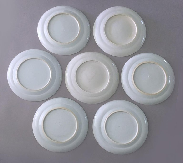 Set of Seven Antique Chinese Canton Porcelain Blue and White Plates For Sale 1