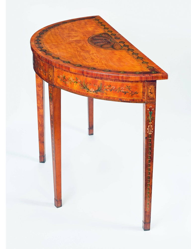superb george iii inlaid satinwood demi lune console table. Black Bedroom Furniture Sets. Home Design Ideas