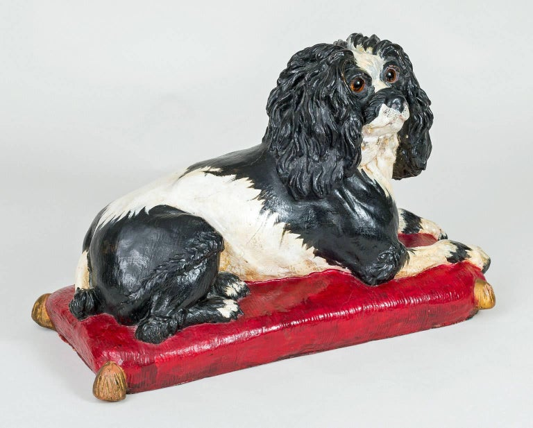 Early Staffordshire Black and White Sitting Spaniel 2