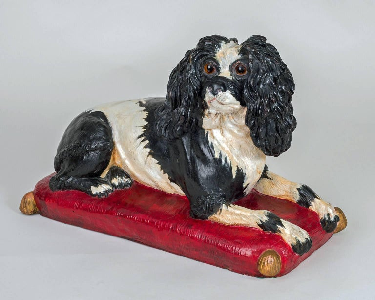 Early Staffordshire Black and White Sitting Spaniel 3