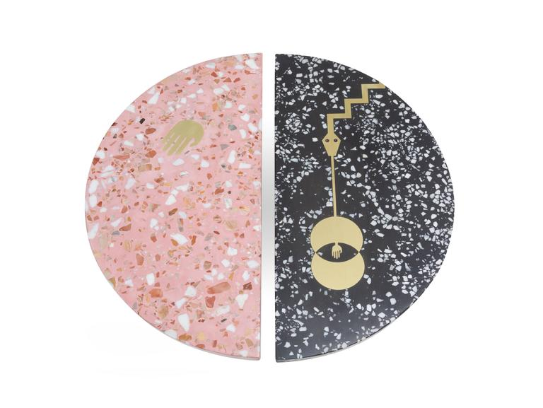 Yin yang tables in pink and black cement terrazzo with for Table yin yang basse