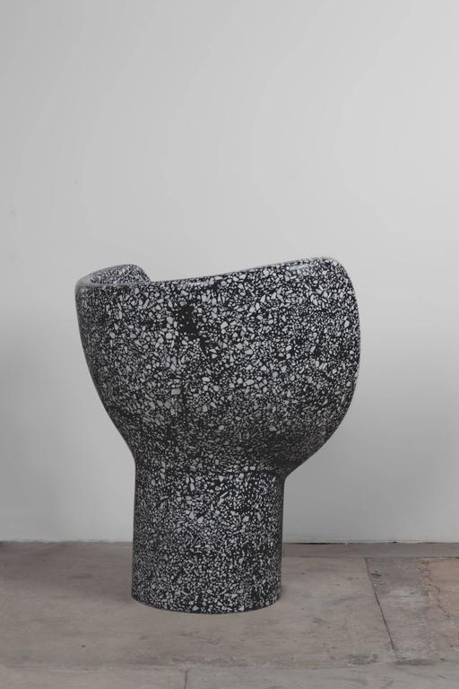 Sculptural Moon Snake Accent Chair, Black Cement/White Marble Terrazzo 2