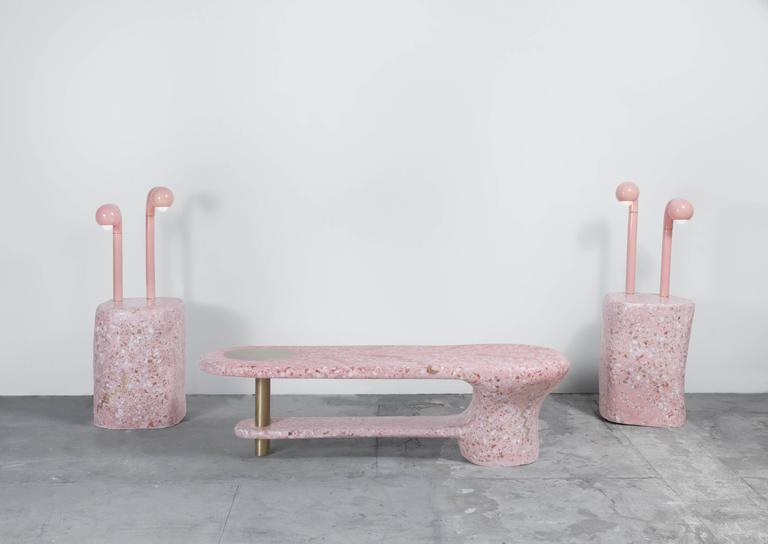 Inlay Run to the Light Pink Cement/Marble Terrazzo Sculptural Coffee Table with Brass For Sale