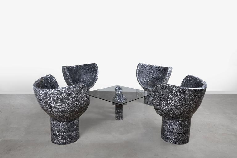 Sculptural Moon Snake Accent Chair, Black Cement/White Marble Terrazzo 3