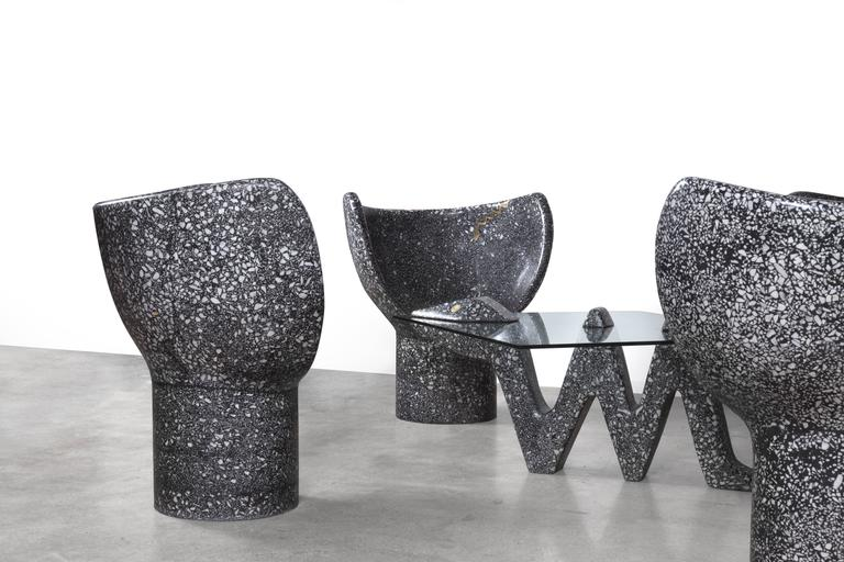 Cement Arm Chairs ~ Sculptural moon snake accent chair black cement white