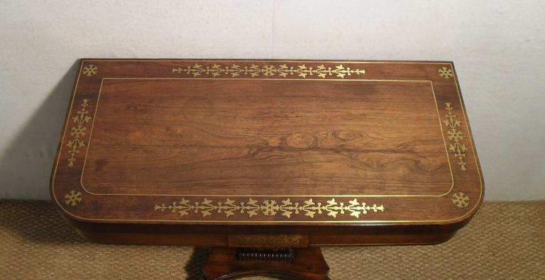 English Regency Rosewood And Brass Inlaid Games Table
