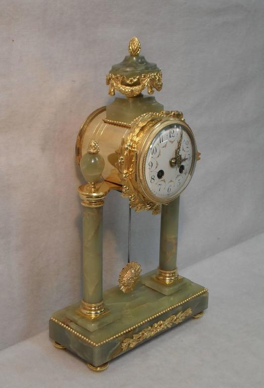 French Onyx Marble And Bronze Gilt Clock Set At 1stdibs
