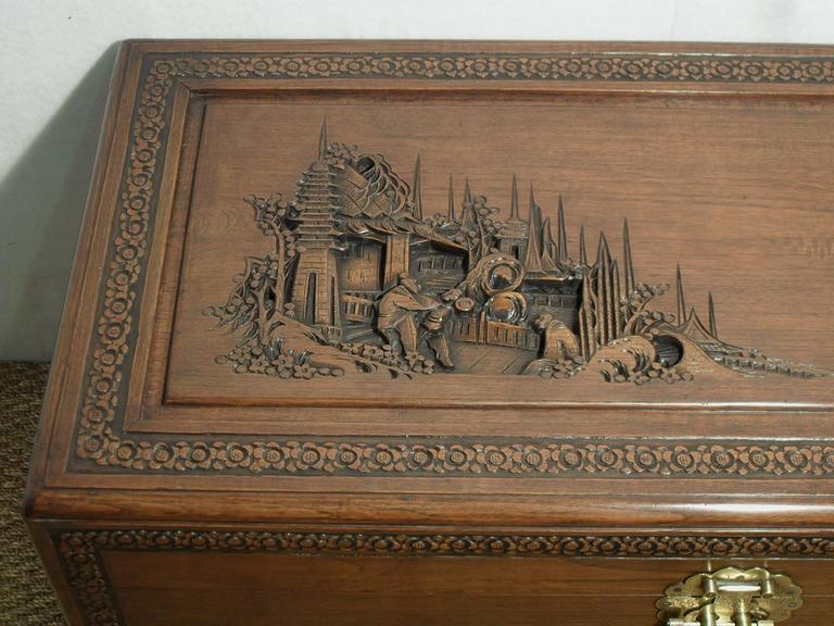 Oriental carved camphor wood chest at 1stdibs for Oriental furniture hong kong