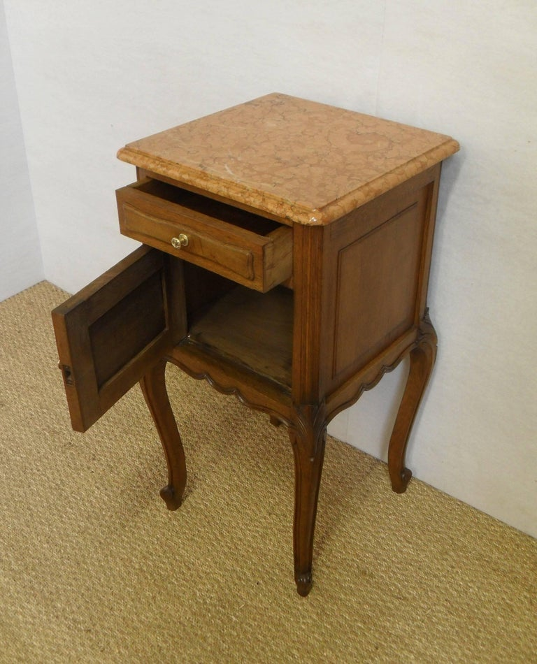 Marble Pair Of Early 20th Century Continental Oak Bedside Cabinets For