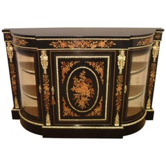 Victorian Ebonized and Marquetry Display Credenza