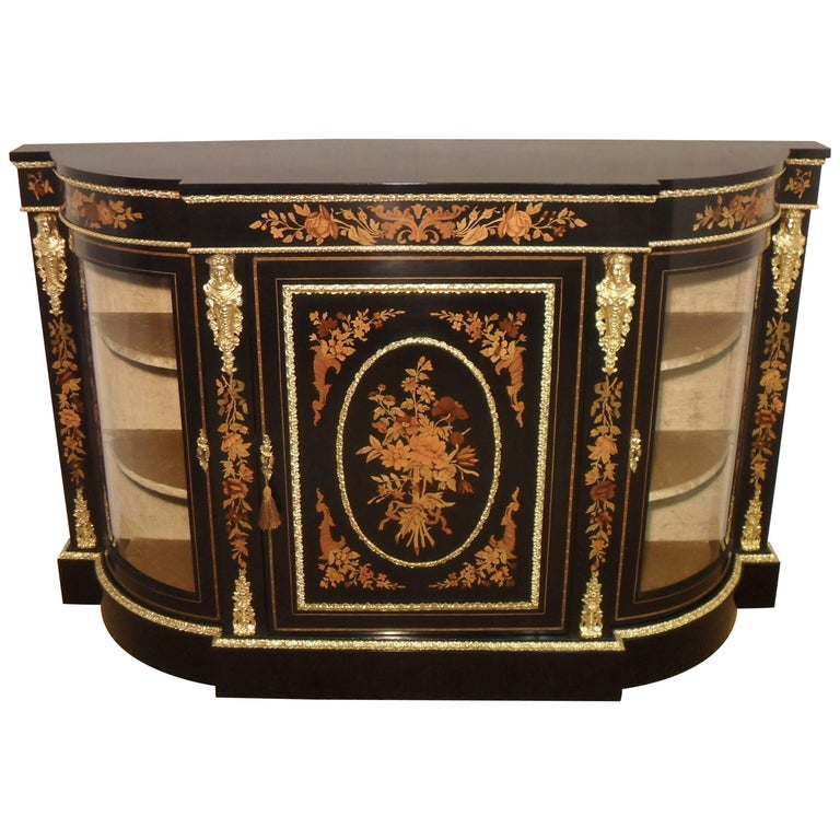 Victorian Ebonized and Marquetry Display Cabinet  For Sale