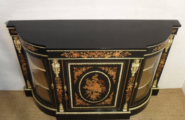 English Victorian Ebonized and Marquetry Display Cabinet  For Sale