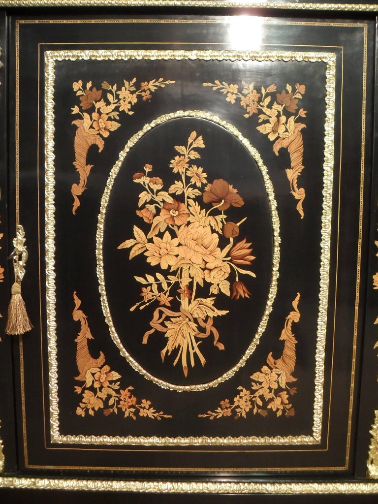 Inlay Victorian Ebonized and Marquetry Display Cabinet  For Sale