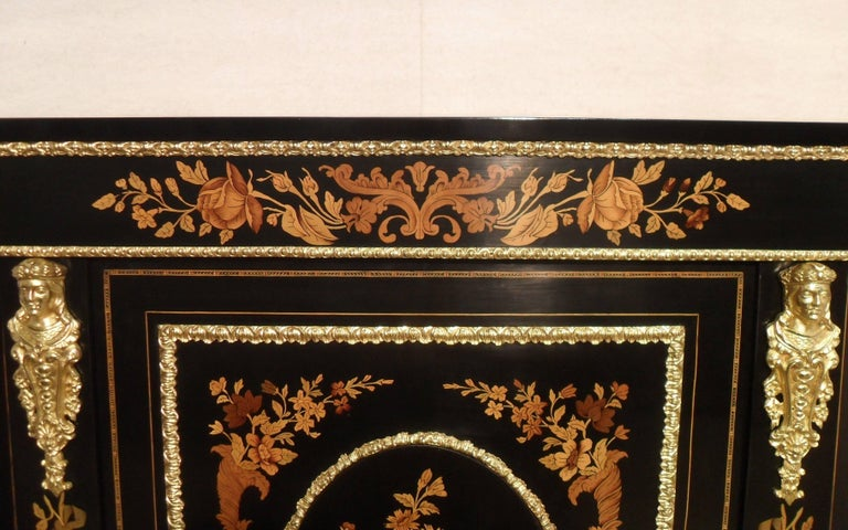 19th Century Victorian Ebonized and Marquetry Display Cabinet  For Sale