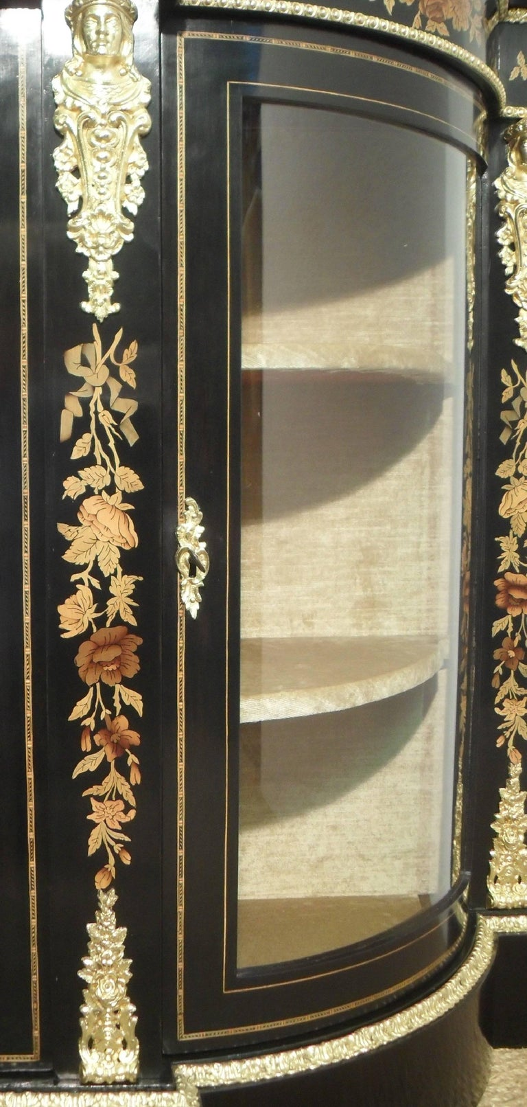 Mahogany Victorian Ebonized and Marquetry Display Cabinet  For Sale