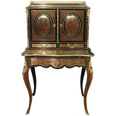 French Louis XV Style Boulle Bonheur Du Jour Writing Cabinet