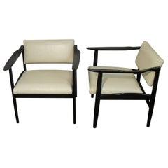 Pair of Italian Mid-Century Modern Ebonized Armchairs
