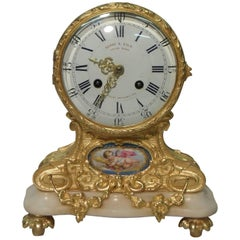 French Bronze Gilt Louis XV Style Mantel Clock with Porcelain Panel