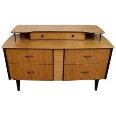 Midcentury Zebrano and Ebonized Side Cabinet