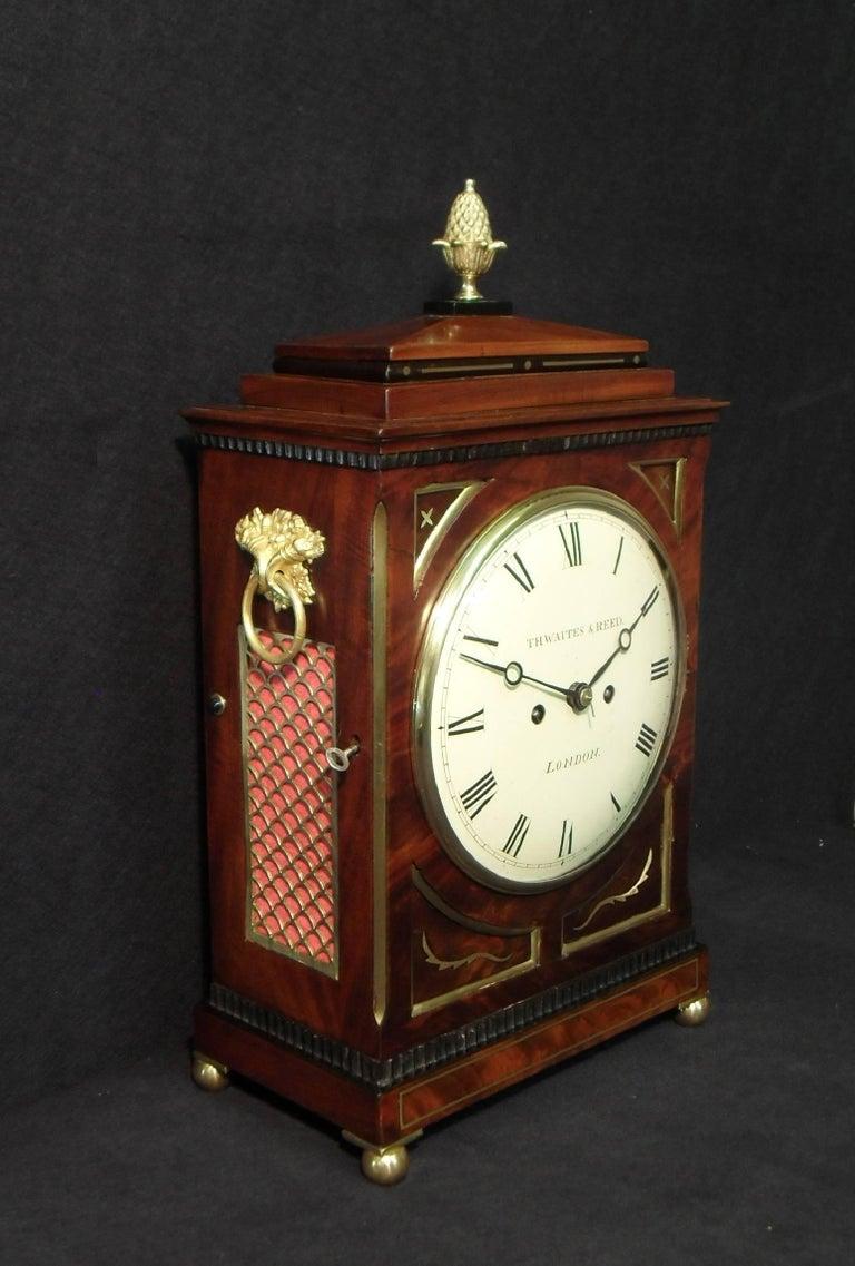 English Georgian Mahogany Bracket Clock by Thwaites and Reed
