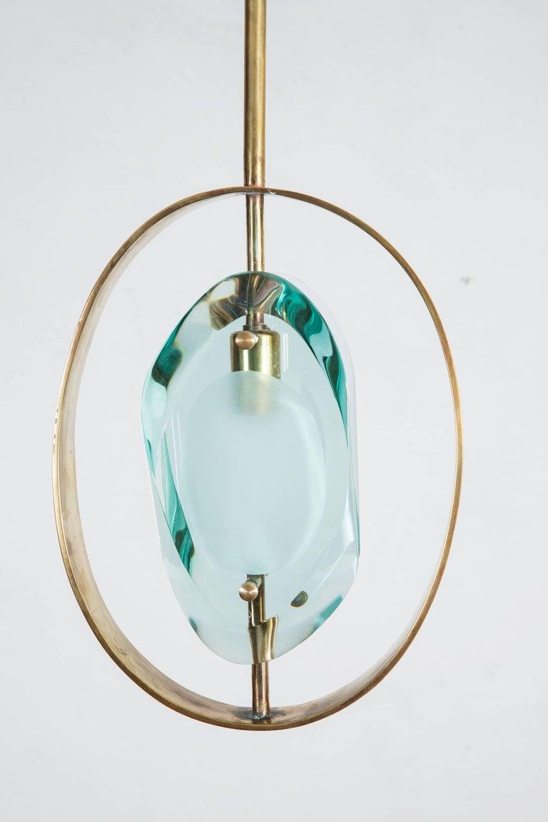 Mid-Century Modern Max Ingrand Brass Pendant Ceiling Lamp 'Model 1933' for Fontana Arte, 1961 For Sale