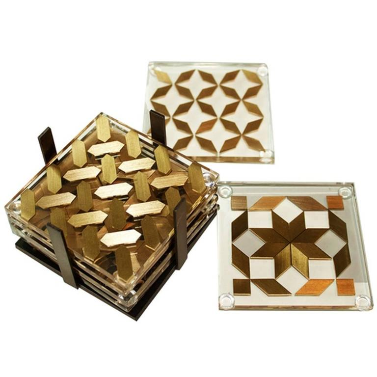 Clear Coaster Set, Contemporary Coaster Set with Brass Inlay 1