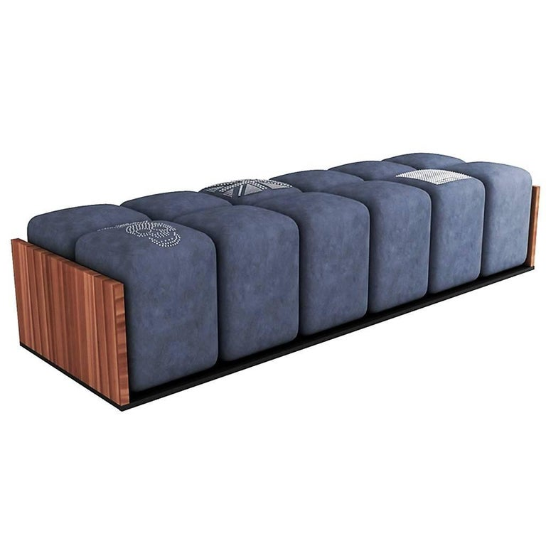 Ice Tray Bench by Karina Sukar, Contemporary Upholstered Solid Wood Bench