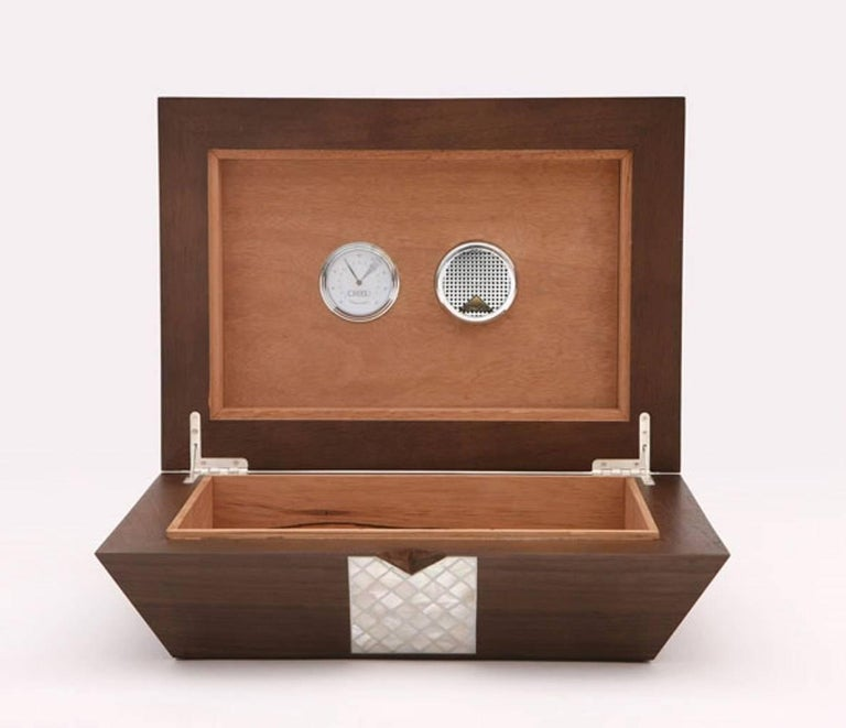 Modern Cigar Box, Contemporary Gift, Walnut with Mother-of-Pear Inlay For Sale