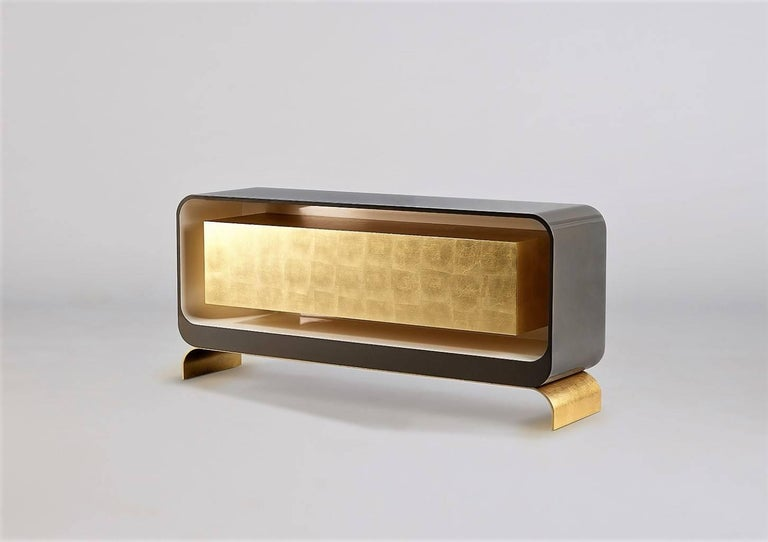 Lingot smoke sideboard contemporary gold leaf and lacquer for Sideboard gold