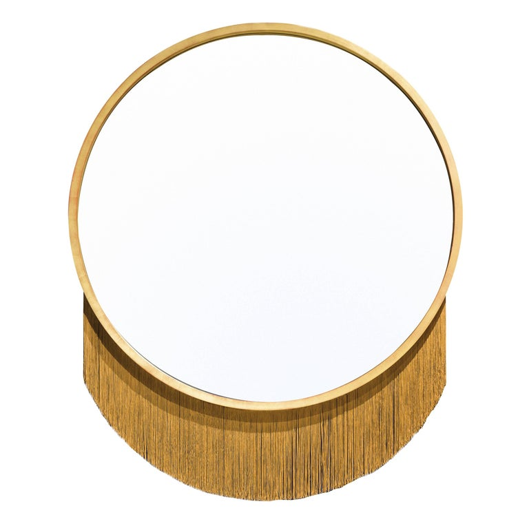 Venus Mirror, Mirror in Gold Leaf Frame and Decorative Fringe For Sale