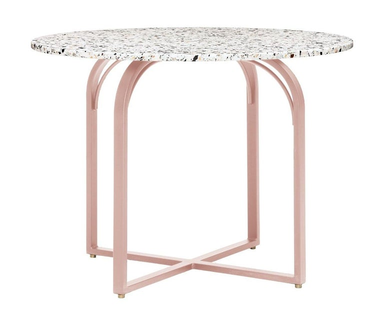 Swedish Terrazo Dining Table, Contemporary Round Table in Terrazzo Top For Sale