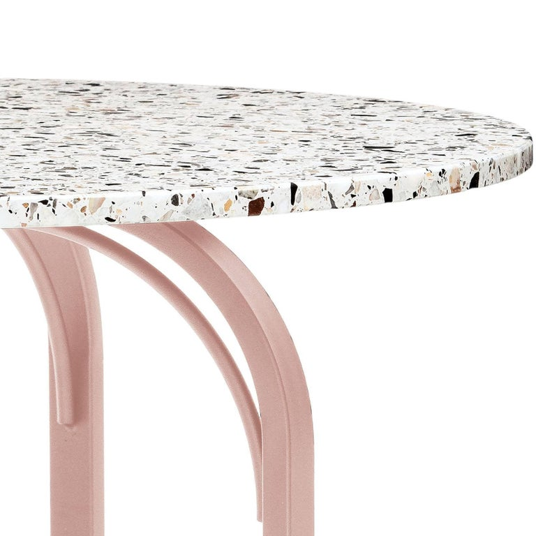 Designed to fit a limited dining area, the Terrazzo dining table is a solid breakfast or dining table for up to four people. The table highlights the beauty of the material terrazzo. The tabletop is supported by a welded steel frame to secure the