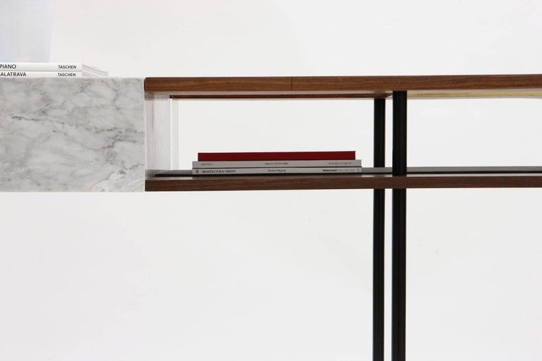 Industrial Frame Console, Contemporary Handmade Brass and Marble Console For Sale