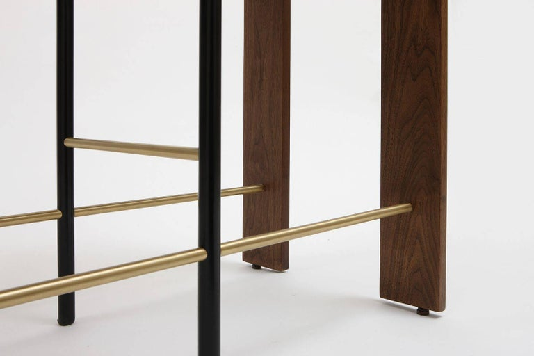 Frame Console, Contemporary Handmade Brass and Marble Console In New Condition For Sale In New York, NY