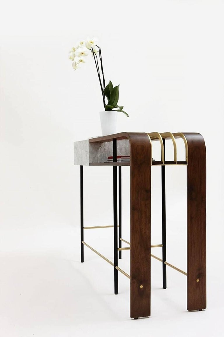 Frame Console, Contemporary Handmade Brass and Marble Console For Sale 1