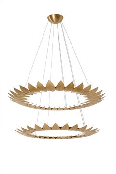 The Leaves Chandelier, Contemporary Brass Casting Suspension